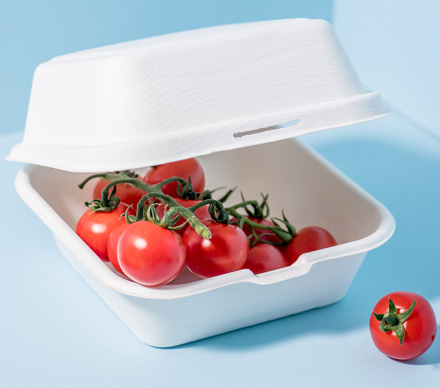 Fresh tomatoes in compostable sugarcane containers with cornstarch cutlery